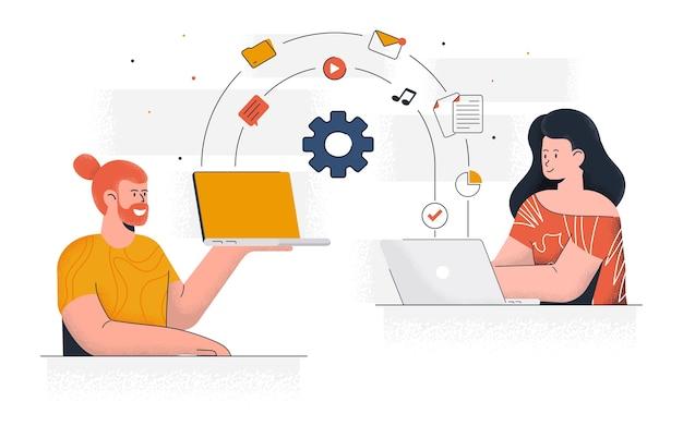 Współczesne udostępnianie plików. młody mężczyzna i kobieta pracują razem nad projektem. praca biurowa i zarządzanie czasem. łatwe do edycji i dostosowywania. ilustracja