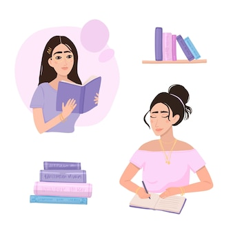 Współcześni ludzie czytający różne książki