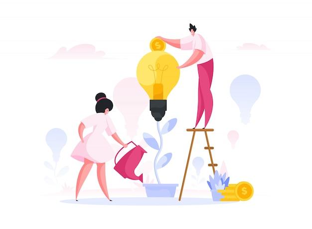 Współcześni ludzie pielęgnują kreatywny pomysł. ilustracja