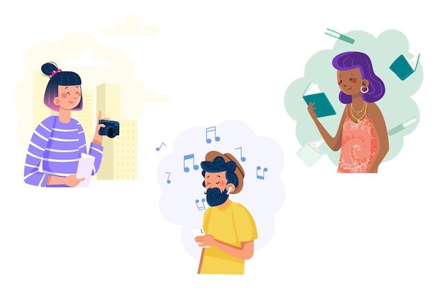 Współcześni ludzie słuchający muzyki