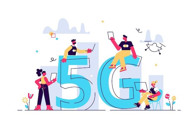 Współcześni ludzie używają płaskiej ilustracji bezprzewodowego szybkiego internetu. mężczyzna i kobieta z smartphone, laptop, tablet i drone w gród wieża telekomunikacyjna na białym tle. koncepcja 5g