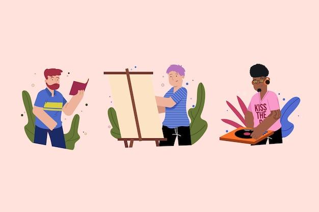 Współcześni ludzie wykonujący kolekcję działań kulturalnych