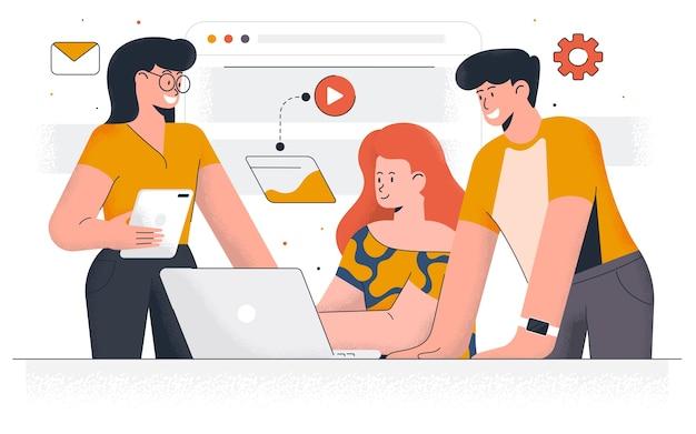 Współczesny marketing cyfrowy. młody mężczyzna i kobieta pracują razem nad projektem. praca biurowa i zarządzanie czasem. łatwe do edycji i dostosowywania. ilustracja