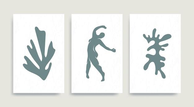 Współczesny plakat streszczenie wektor henri matisse. kobieta nago rysunek taniec sylwetka grafik matisse malarstwo. pastelowa reprodukcja malarstwa. kolaż geometryczny kształt.