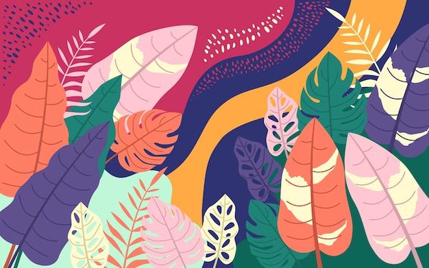 Współczesny wzór tropikalnych liści monstera