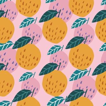 Współczesny wzór z jabłkami i liśćmi na różowym tle. słodkie jabłka w stylu wyciągnąć rękę. projekt dla tkanin, nadruków na tekstyliach, papieru do pakowania, tekstyliów dziecięcych. ilustracja wektorowa