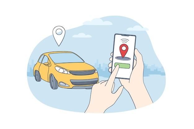 Współdzielenie samochodów i koncepcja aplikacji online.