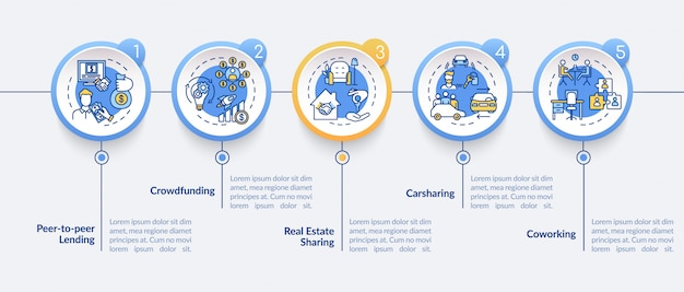 Współdzielenie szablonu infografiki gospodarki. elementy projektu prezentacji modeli biznesowych współpracy. wizualizacja danych w pięciu krokach. wykres osi czasu procesu. układ przepływu pracy z ikonami liniowymi