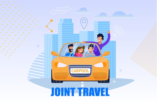Wspólna ilustracja usług turystycznych. koncepcja carpool