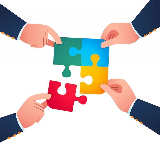 Wspólna praca nad połączeniem puzzli