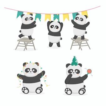 Wspólne przygotowanie przyjęcia urodzinowego panda. udekorowali salę flagami i światłami. ilustracja kreskówka uroczystości w stylu płaski