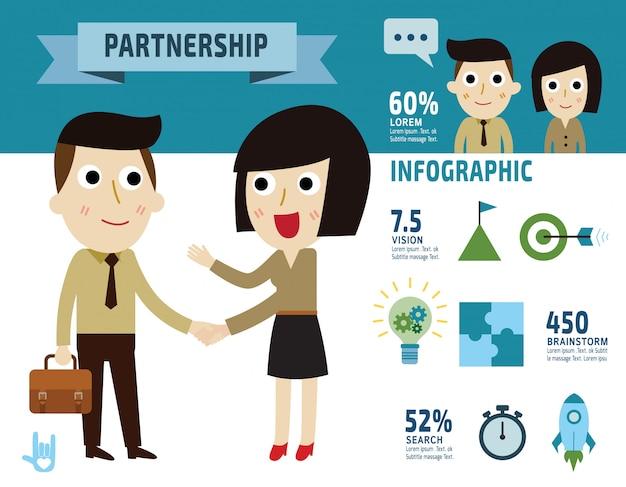 Współpraca. biznes kobieta strony wstrząsnąć biznesmen. ilustracja płaskie elementy projektu - wektor
