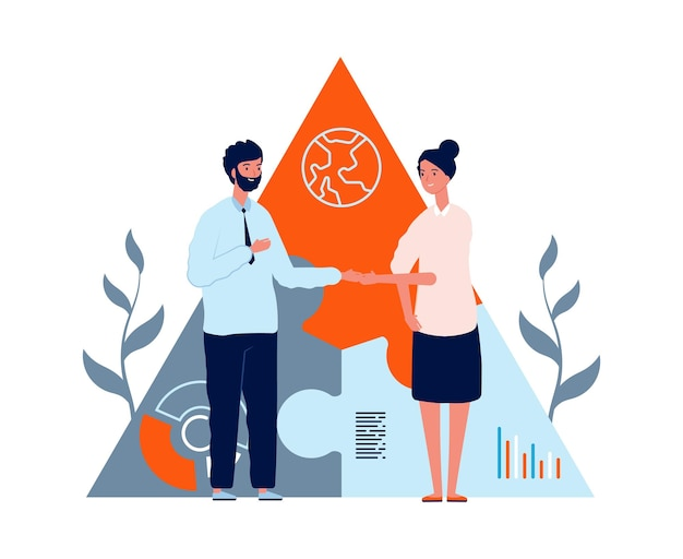 Współpraca biznesowa. umowa międzynarodowa, kobieta mężczyzna uścisk dłoni. młodzi inwestorzy lub ilustracji wektorowych pracy zespołowej. umowa uścisk dłoni, praca zespołowa bizneswoman i biznesmen, ilustracja partnerstwa