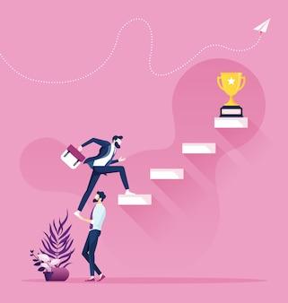 Współpraca i praca zespołowa. biznesmen pomaga wspinać się na schody