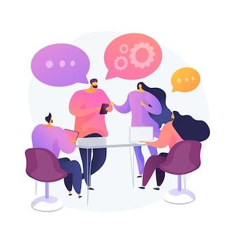 Współpraca i współpraca w pracy. spotkanie biznesowe, odprawa współpracowników, praca zespołowa pracowników. koledzy w sali konferencyjnej omawiający projekt. ilustracja wektorowa na białym tle koncepcja metafora