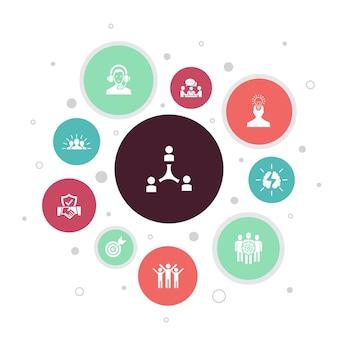 Współpraca infografika 10 kroków bubble design.praca zespołowa, wsparcie, komunikacja, motywacja proste ikony
