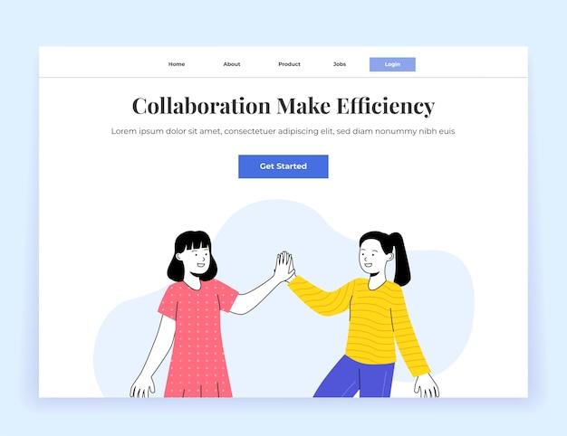 Współpraca Landing Page Ilustracja Dwie Młoda Kobieta Piątka Premium Wektorów