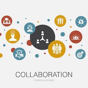 Współpraca modny szablon koło z prostymi ikonami. zawiera takie elementy jak praca zespołowa, wsparcie, komunikacja, motywacja