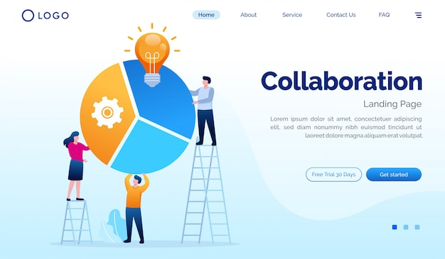 Współpraca strony docelowej strony internetowej ilustracyjny płaski projekta szablon
