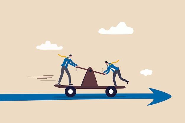 Współpraca zespołowa prowadząca do sukcesu we współpracy lub partnerstwie