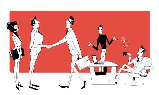 Współpraca zespołowa, współpraca w poszukiwaniu rozwiązań, profesjonalne badania marketingowe, spotkanie biznesowe. trend biznesowy, myślenie projektowe, możliwości biznesowe. retro ilustracja w stylu szkicu.