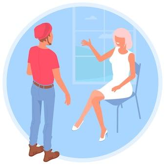 Współpracownicy komunikują się w biurze mężczyzna i kobieta w coworkingu otwarta przestrzeń przed oknem płaska koncepcja przestrzeni roboczej w biurze praca zespołowa kreatywna komunikacja