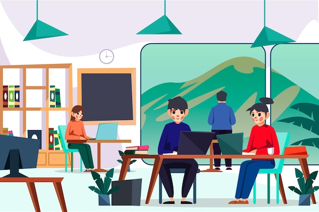 Współpracownicy korzystający z urządzeń cyfrowych w przestrzeni coworkingowej