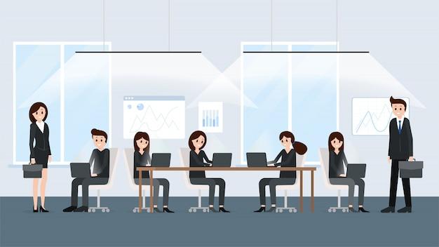 Współprzestrzenna przestrzeń nowoczesnego wnętrza biurowego