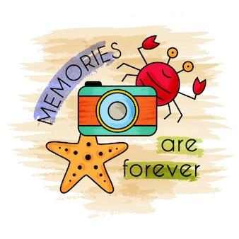 Wspomnienia są wieczne. akwarela letnie wakacje. letni baner.