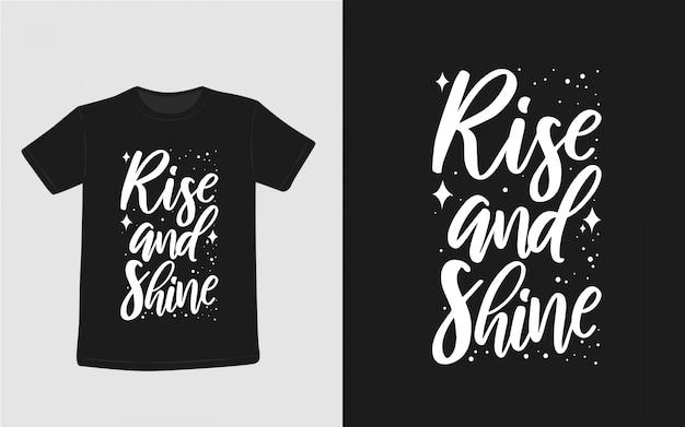 Wstać i świecić inspirujące cytaty typografia t shirt