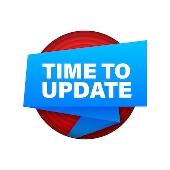 Wstążka aktualizacji lub aktualizacji oprogramowania systemowego. nowa aktualizacja banera. czas na aktualizację. ilustracja wektorowa.