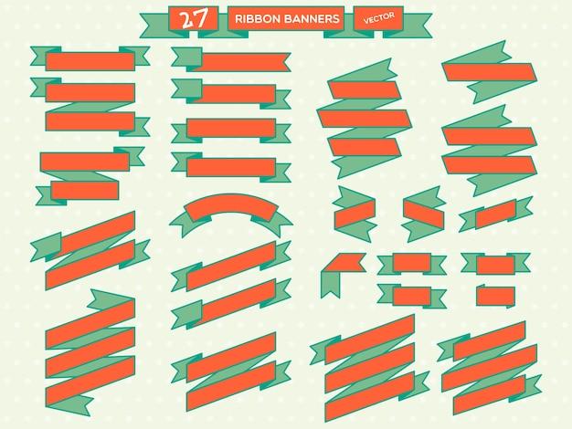 Wstążka banner pomarańczowy i zielony zestaw