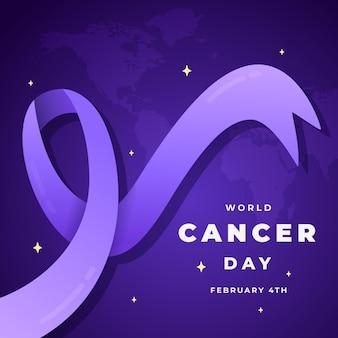 Wstążka dnia raka na mapie świata