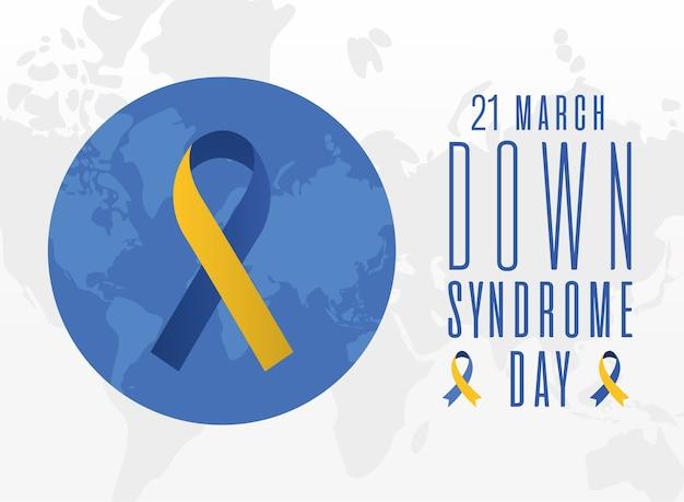 Wstążka dnia zespołu downa na światowym projektowaniu, świadomość niepełnosprawności i motyw wsparcia ilustracja wektorowa