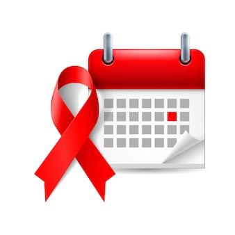 Wstążka i kalendarz świadomości aids