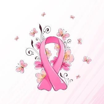 Wstążka miesiąca świadomości raka piersi ilustrowana kwiatami i motylami