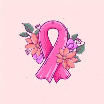 Wstążka miesiąca świadomości raka piersi ilustrowana kwiatami