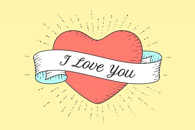 Wstążka na końcu serca z komunikatem kocham cię