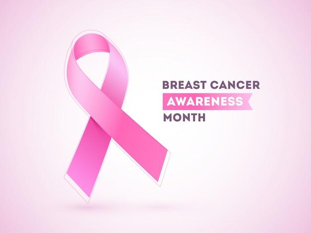 Wstążka raka piersi na różowym połysku dla miesiąca świadomości