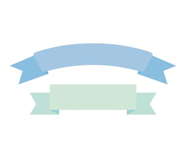 Wstążka rama ozdoba na białym tle ikona