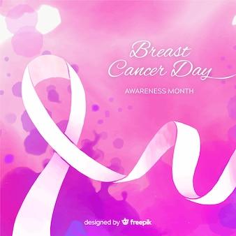 Wstążka świadomości raka piersi akwarela na fioletowym tle