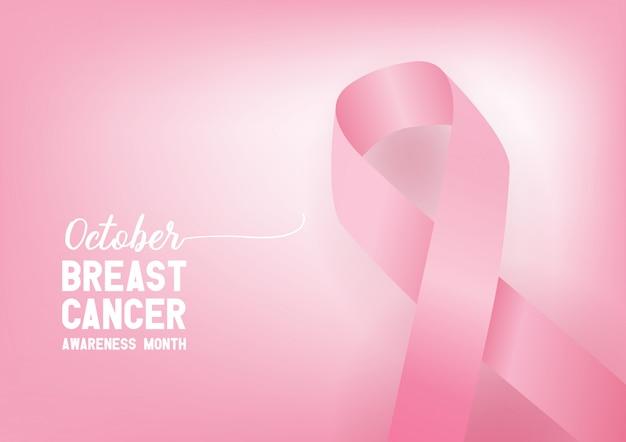 Wstążka świadomości raka piersi. koncepcja światowego dnia raka piersi.