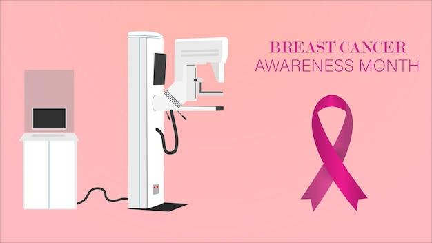 Wstążka świadomości raka piersi w tle z mammography machine.