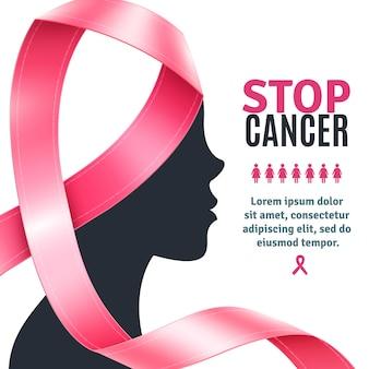 Wstążka świadomości raka piersi w tle
