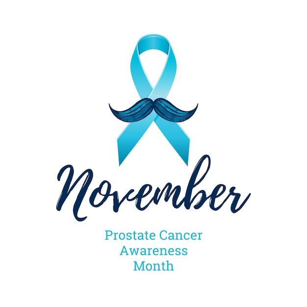 Wstążka świadomości raka prostaty z wąsami. symbol zdrowia mężczyzn. profilaktyka raka mężczyzn w listopadzie. grawerowane, 3d ilustracja kreskówka na białym tle