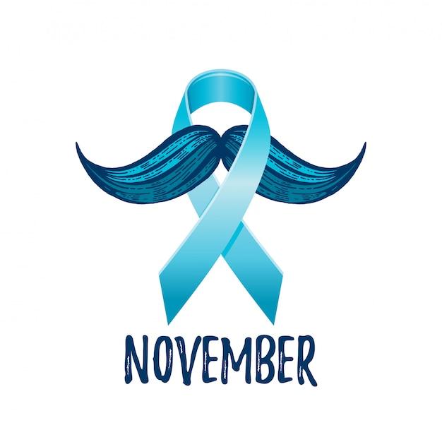 Wstążka świadomości raka prostaty z wąsami. symbol zdrowia mężczyzn.
