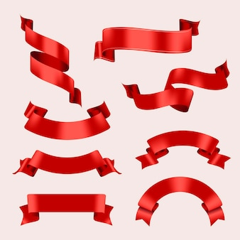 Wstążka transparent wektor sztuki, czerwony realistyczny zestaw do projektowania etykiet