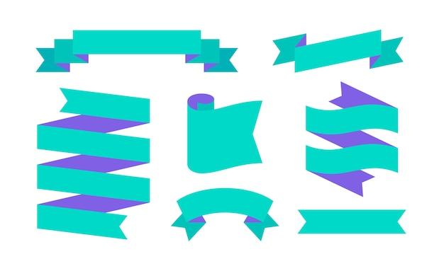 Wstążka transparent. zestaw prostych banerów wstążkowych dla tekstu, frazy. wstążka sylwetka rocznika starej szkoły kolor na białym tle. elementy graficzne wiadomości.