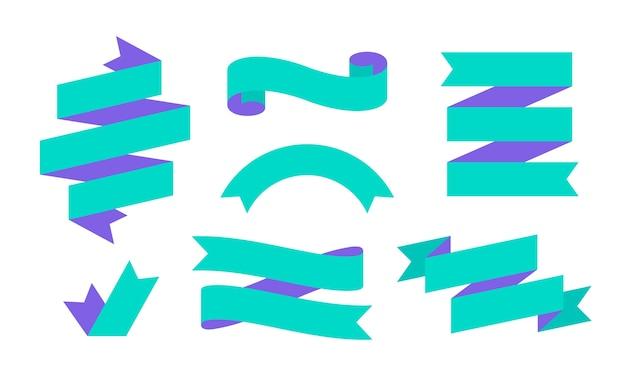 Wstążka transparent. zestaw prostych banerów wstążkowych dla tekstu, frazy.