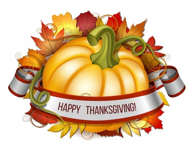 Wstążka z napisem happy thanksgiving i pomarańczowe dynie
